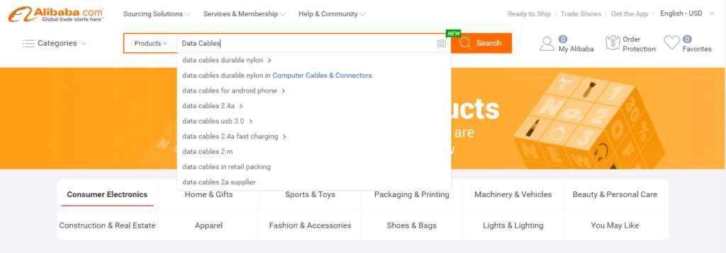 Поиск товара на сайте alibaba.com