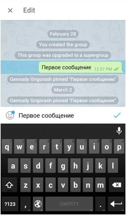 Как изменить сообщение в Телеграм - кнопка Edit
