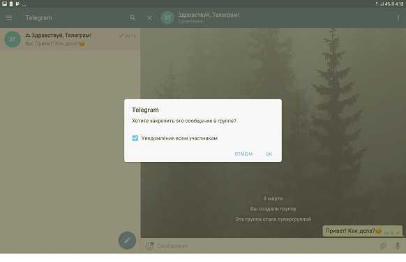 подтвердить закрепление сообщения в Телеграм