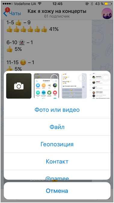 Добавление фото или видео на канал Телеграм
