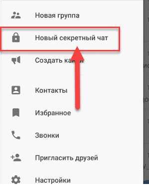 Пункт меню - создать новый секретный чат Телеграм