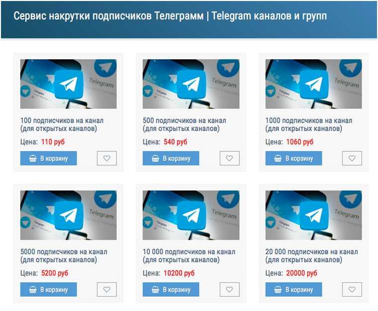 Сервис с ценами для накрутки подписчиков Телеграм