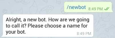 пишем команду /newbot для создания нового бота