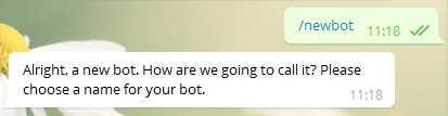 Команда /newbot используется для начала создания нового бота
