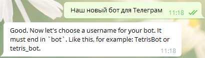 Даем название новому боту, можно на английском и русском языке