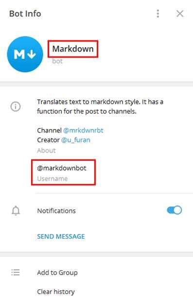 имя бота и его адрес - Markdown и @markdown