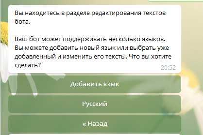 выбираем пункт Русский язык, бот может понимать несколько языков