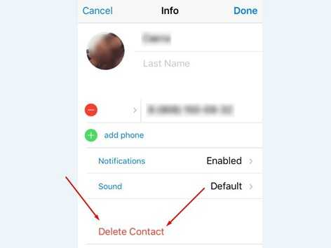 Удаление контакта в Телеграм - кнопка delete contact