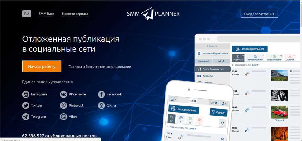 сервис SMMPlanner - сервис для создания отложенных публикаций