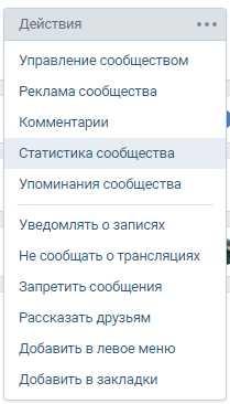 пункт - статистика сообщества ВКонтакте