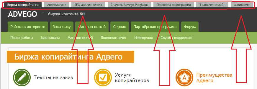 на что можно проверить текст на сайте advego