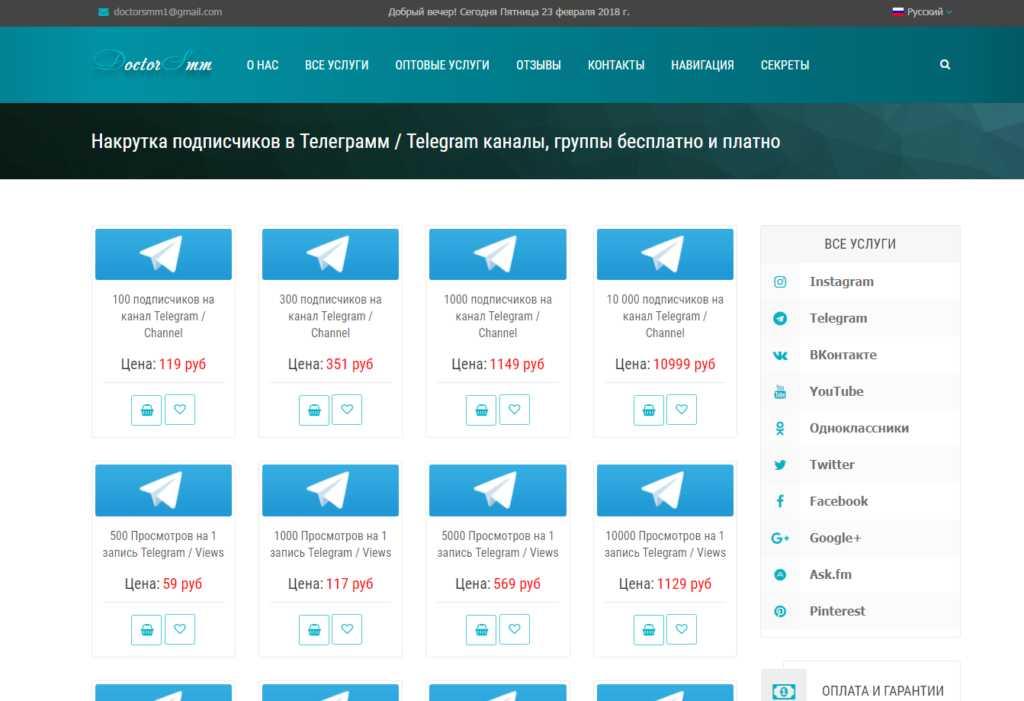 DoctorSMM.com - это раскрутка каналов Телеграм