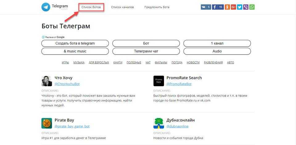 Telegram-robot.ru и его список ботов
