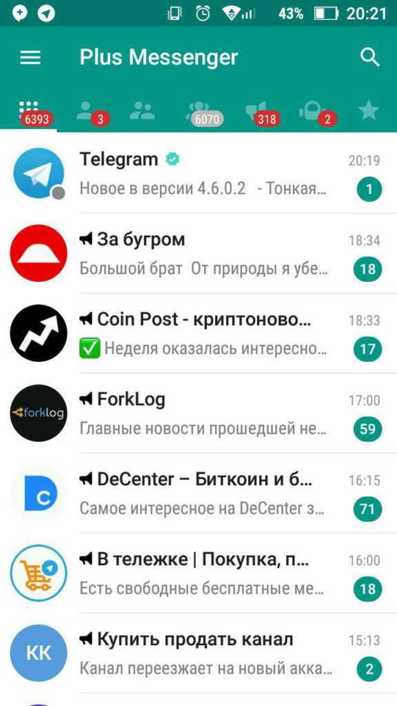 Вывод контактов в приложении Телеграм плюс