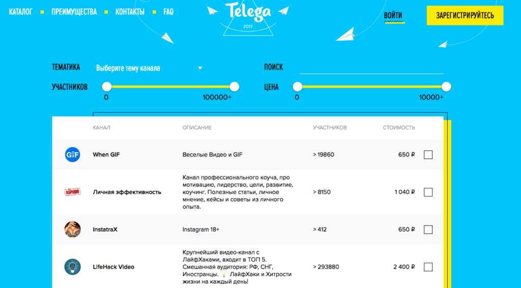 платная биржа для Телеграм - телега