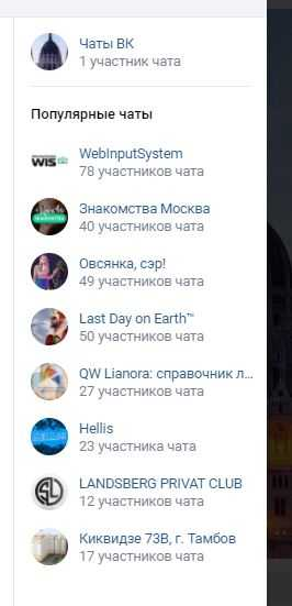 популярные чаты ВКонтакте