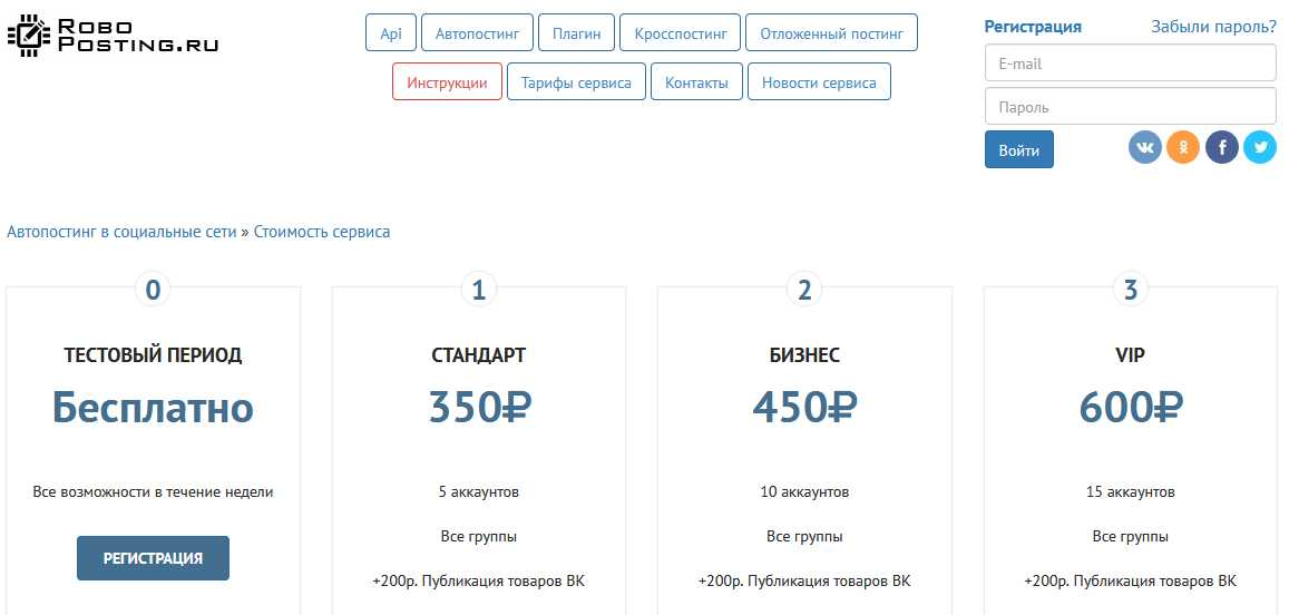 прайс цен сервиса автопостинга Roboposting.ru