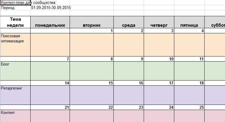 контент план сообщества ВКонтакте