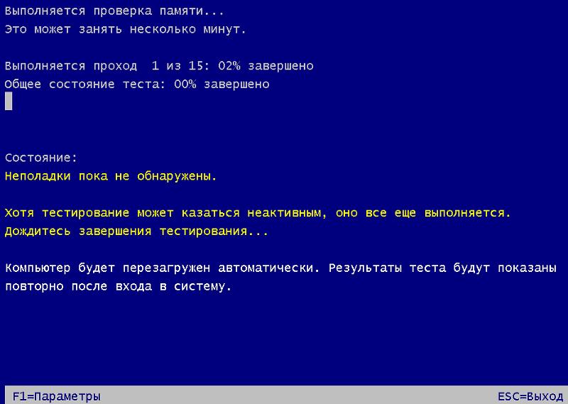 Интерфейс Windows Memory Diagnostic Tool.