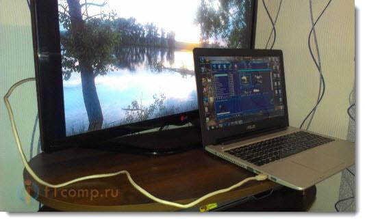 Соединение ноутбука с телевизором сетевым кабелем