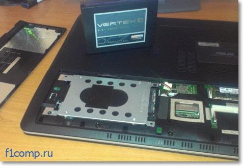 Установка SSD накопителя в ноутбук