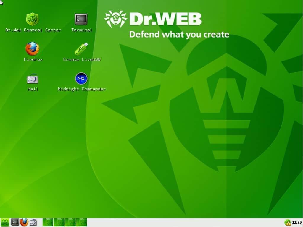 рабочий стол Dr.Web LiveCD