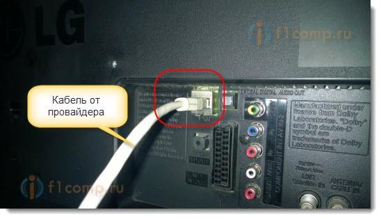 Подключаем сетевой кабель от провайдера к телевизору