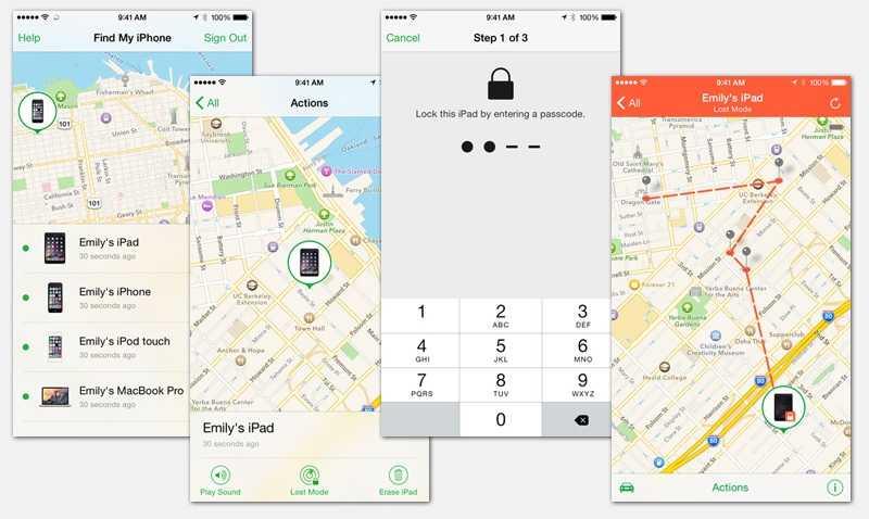 Снимки экрана приложения Find my iPhone