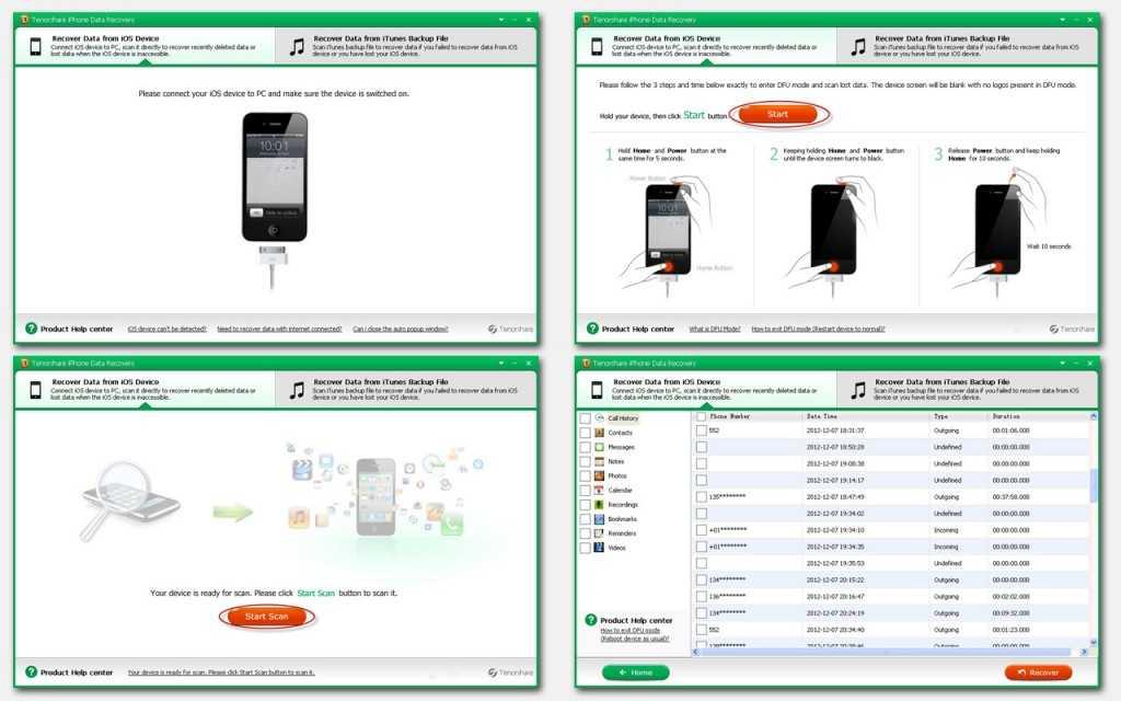 Восстановление через Тenorshare iPhone Data Recovery