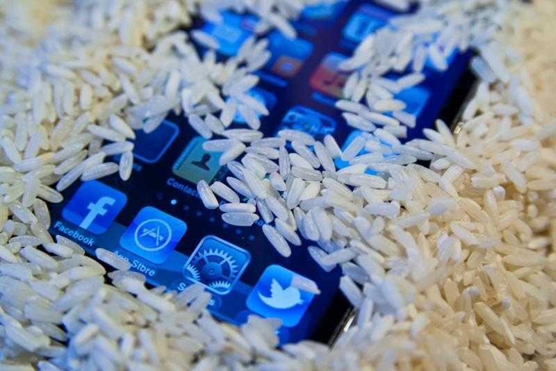 Айфон в сыром рисе