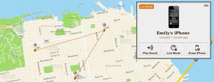 Расположение айфона на карте